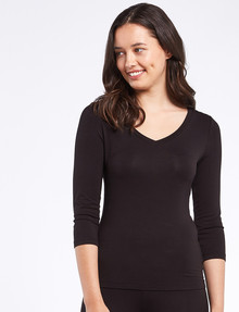 Bodycode Three-Quarter Sleeve V-Neck Tee, Black product photo