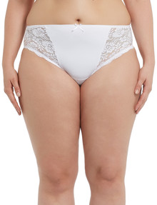 Lyric Curve Crystal Lace Hi-Cut Brief, White product photo