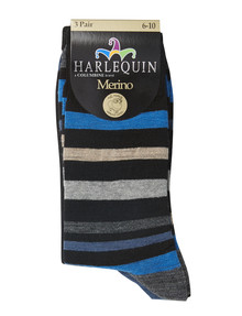 Harlequin Blue and Black Stripes Dress Sock, 3-Pack product photo