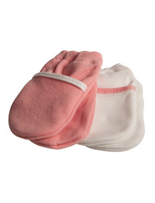 Safety First No Scratch Mittens, Pink/White product photo