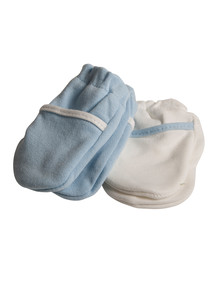 Safety First No scratch Mittens, Blue/White product photo