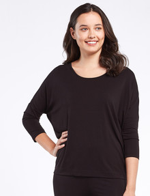 Bodycode 3/4-Sleeve Batwing Tee, Black product photo