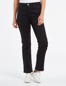 Denim Republic High Rise Straight Leg, Shorter Length Black Jeans product photo