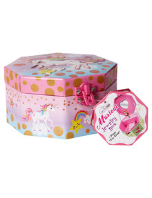 Hot Focus Octagonal Musical Jewellery Box - Unicorn product photo