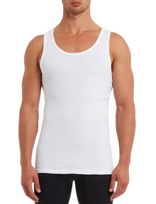 Chisel Cotton Singlet, White, 3-Pack product photo