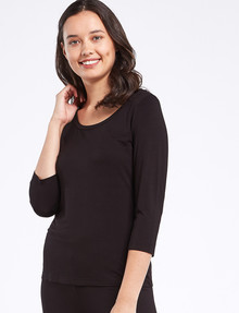 Bodycode Three Quarter Sleeve Scoop Neck Tee, Black product photo