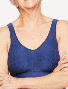Playtex Comfort Revolution Flex Fit Wirefree Bra Navy, S-2XL product photo