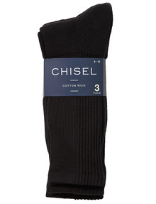 Chisel Cushion Foot Sock, Black, 3-Pack product photo