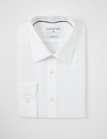 Laidlaw + Leeds Long-Sleeve Twill Shirt, Regular Cuff, White product photo