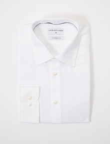 Laidlaw + Leeds Long-Sleeve Herringbone Shirt, White product photo