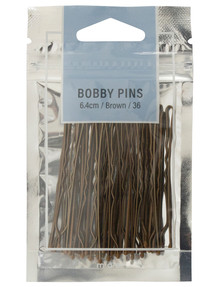 Mae 6.4cm Bobby Pins, Brown, 36-Pack product photo