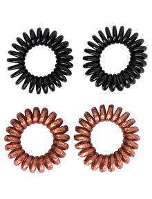 Mae Twirl Ties, Rose Gold & Black, 4-Pack product photo
