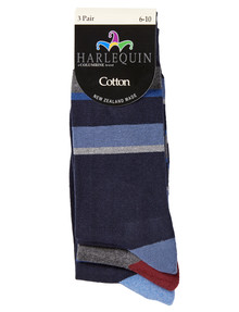 Harlequin Cushion Foot Striped Crew Sock, 3-Pack product photo