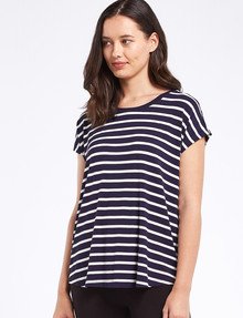 Bodycode Boxy Short Sleeve Striped Tee, Navy/White product photo