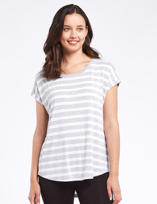 Bodycode Boxy Short Sleeve Striped Tee, Grey/White product photo