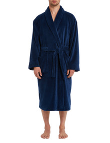 Chisel Plain Fleece Robe, Navy product photo