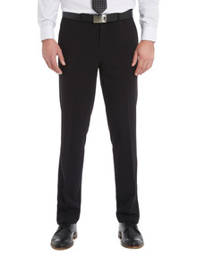 Chisel Formal Flat Front Plain Pant, Tailored Fit, Black product photo