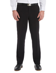 Chisel Formal Flat Front Plain Pant, Classic Fit, Black product photo