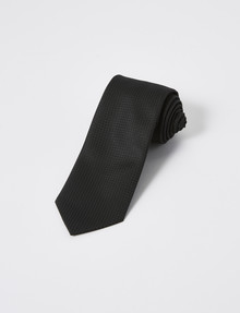 Laidlaw + Leeds Tie, Plain Texture, 7cm, Black product photo