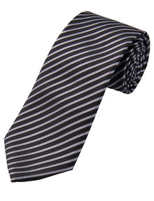 Laidlaw + Leeds Tie, Basic Stripes, 7cm, Black & Light Grey product photo