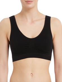 Lyric Seamfree Crop Top with Removable Pads, Black product photo