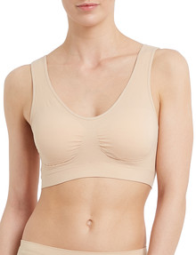 Lyric Seamfree Crop Top with Removable Pads, Nude product photo