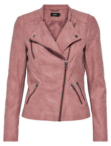 ONLY Ava Faux Leather Biker Jacket, Dusty Pink product photo