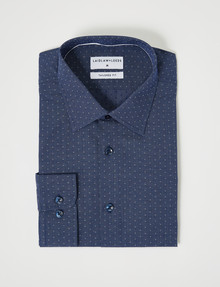 Laidlaw + Leeds Long-Sleeve Dot Print Fashion Shirt, Navy & White product photo