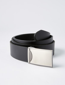 Laidlaw + Leeds Box Buckle Leather Belt, Black product photo
