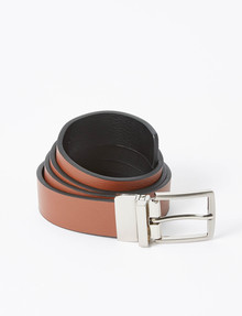 Laidlaw + Leeds Reversible 30mm Belt, Tan/Black product photo