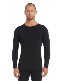 Superfit Long-Sleeve Superfine Crew Neck Top, Black product photo