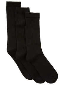 Gym Equipment Crew Socks, 3-Pack, Black product photo