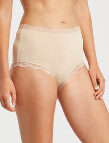 Lyric Microfibre Lace Full Brief, Nude product photo