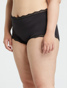 Lyric Curve Microfibre Lace Full Brief, Black product photo