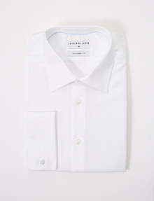 Laidlaw + Leeds Long-Sleeve Jacquard Shirt, French Cuff, White product photo