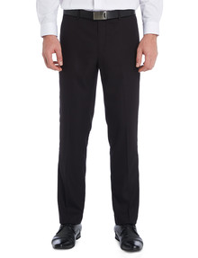Chisel Formal Flat Front Herringbone Pant, Classic Fit, Black product photo