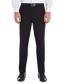 Chisel Formal Flat Front Herringbone Pant, Tailored Fit, Black product photo