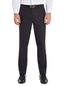 Chisel Formal Flat Front Herringbone Pant, Tailored Fit, Charcoal Grey product photo