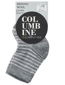 Columbine Stripe Merino Wool Blend Crew Sock, Light & Dark Grey Marle product photo