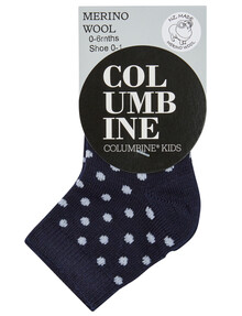Columbine Merino Wool Blend Crew Sock, Navy & White product photo