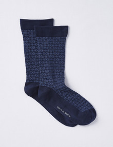 Simon De Winter Circulation Crew Sock, 2 Pack, Navy Floral product photo