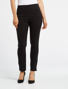Ella J Slim-Leg Petite Pull-On Bengaline Pant, Black product photo