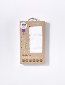 Bubba Blue Bamboo Face Washers, White, 3-Pack product photo