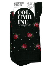 Columbine Flower & Dot Comfort Merino Crew Sock, Black product photo