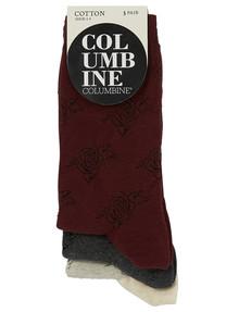 Columbine Contrast Flower Crew Sock, 3-Pack, Maroon & Grey product photo
