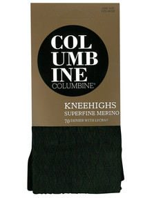Columbine Diamond Superfine Merino Knee-High Sock, Black product photo