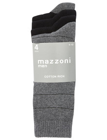 Mazzoni Cotton Rich Dress Sock, 4-Pack, Grey & Black product photo