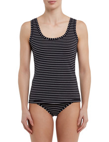 Jockey Woman Cotton Singlet, Black Stripe product photo