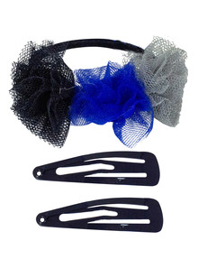 Mae Combo-Pack Elastic & One-Touch Clips, Navy, Set-of-3 product photo