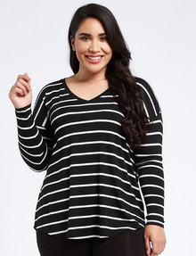 Bodycode Curve Long Sleeve Boxy T- Shirt, Black & White Stripe product photo
